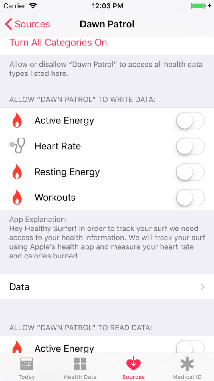 Image of Health app where authorization is off